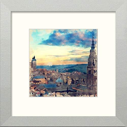 L Lumartos Toledo Skyline - Cuadro Decorativo para Pared (25,4 x 25,4 cm), diseño de Acuarela, Color Plateado Mate