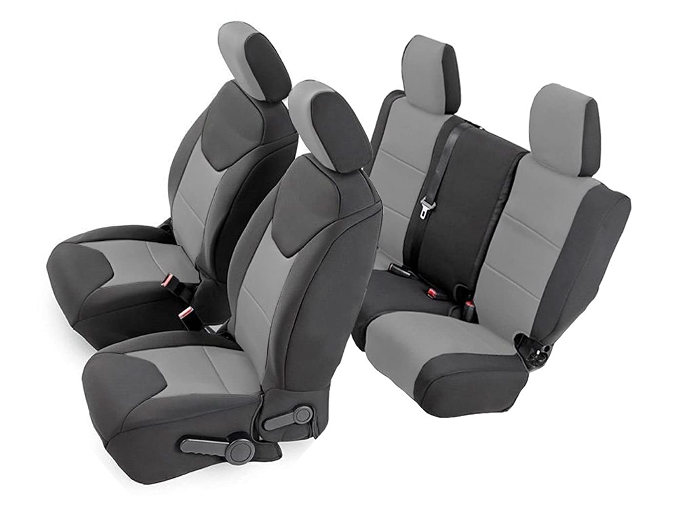 CarsCover Custom Fit 2011-2018 Jeep Wrangler Unlimited 4dr JK Neoprene Car SUV Wagon Front & Rear Seat Covers Gray & Black Sides Tailor Made Seat Cover