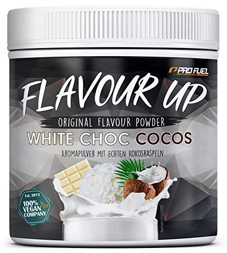 FLAVOUR UP | Geschmackspulver mit White Choc Cocos Flavour | nur 11 kcal pro Portion | Leckerer Geschmack und Süße | Für Lebensmittel und Getränke | 250g Flavour Powder | Made in Germany | ProFuel