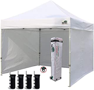 Eurmax 10'x10' Ez Pop-up Canopy Tent Commercial Instant Canopies Party Tent with 4 Removable Zipper End Side Walls and Rol...