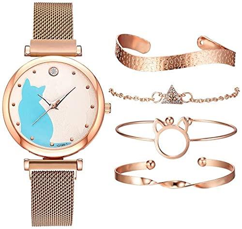 ADDG Reloj para Mujer Patrón Mujeres de los Relojes de Oro Rosa Pulsera Gato Negro Conjunto imán Relojes de señoras de la Pulsera Preciso (Color : 5pcs Rose Gold Set) (5pcs Rose Gold Set)