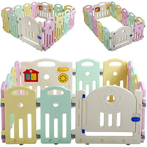 Baby Playpen for Babies Baby Play Playards Infants Toddler Safety Kids Play Pens Indoor Baby Fence with Activity Board (Light, 14 Panels)
