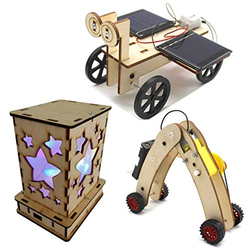 DIY Science Kits for Kids - 3 STEM Educational Building Projects Craft Kit - Solar Circuits Car and Fairy Nightlight Lantern and Machine Caterpillar