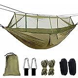 Fucidan Hamaca de camping para exteriores: Hamaca ultraligera de nailon con mosquitera, transpirable para exteriores, mochileros, camping, jardín y viajes.