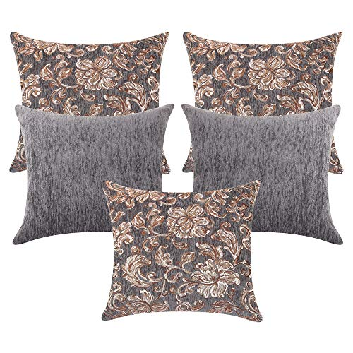 cazimo Jacquard Cushion Cover – 16 x 16 Inches , Grey