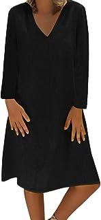 Vestito Donna Moda Vacanza Spiaggia Sciolto Casuale V-Collo Dress Plue Size Loose Manica Lunga Knee Length Semplice Taglie...