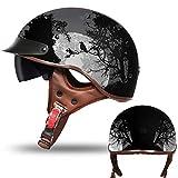 TKTTBD Casque Moto, Vintage Casque Moto Harley Casque de Moto et Scooter Bol Lunettes Retro Style de...
