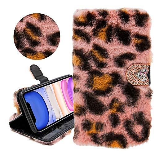 """Kaninchen Haar Glitter Brieftasche PU Ledertasche für iPhone 11 6.1"""", YiCTe Shiny Strass Diamant Flauschiger Plüsch Hase Pelz Fuzzy Weiche Handyhülle mit Kartenfächern, Ständer,Rosa Leopard"""