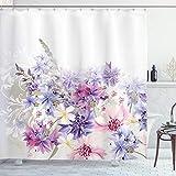 ABAKUHAUS Lavendel Duschvorhang, Rosa lila Blumen, mit 12 Ringe Set Wasserdicht Stielvoll Modern Farbfest & Schimmel Resistent, 175x180 cm, Violett Weiß Rosa