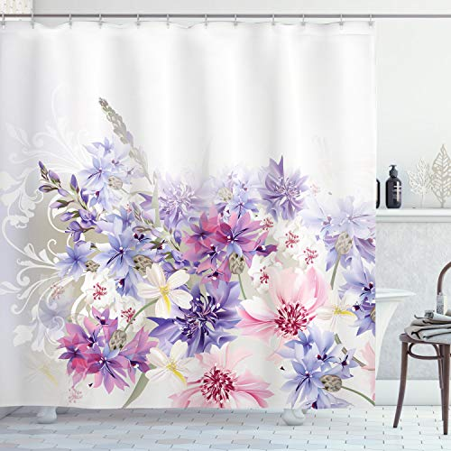 Ambesonne Lavender Shower Curtain, Pastel Cornflowers Bridal Classic Design Gentle Floral Wedding Design Print, Cloth Fabric Bathroom Decor Set with Hooks, 70' Long, Violet Pink White
