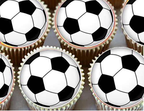 15 x 2 ' (5cm) palloni da calcio - rotondo COMMESTIBILE PASTICCINI Topper Decorazioni da Topped OFF