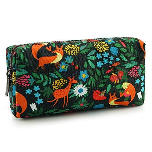 LParkin Woodland Animals Fox Canvas Pencil Case Fabric Zipper Pouch Gift For Friends Red Fox Zipper Pouch Gadget Bag Make Up Case Cosmetic Bag Stationary Kawaii Box
