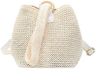 BBGSFDC Bolsas de Mujer Poliéster Straw Handing Mango Bag Plain 2021 Daily out out Black Beige/Bolsa de Paja (Color : Beige)