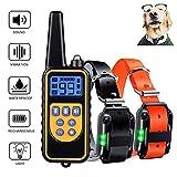 Havenfly Collar de Adiestramiento para Perros sin Descarga Eléctrica, Collar de Entrenamiento para Perros con Función de Vibración y Sonido, Remoto de 800m, Impermeable y Recargable (2 Perro)