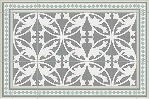 Tapis intérieur extérieur en Vinyle Carreaux de Ciment Feuilles 60 x 90 cm