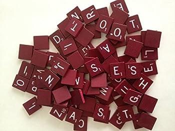 Maroon Wood Scrabble Tiles Set 100 Tiles ~ Game Replacement Scrapbooking Crafts Messages Etc.