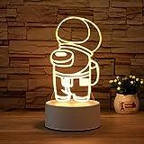 Luz Nocturna ,Lámpara De Ilusión Óptica Led 3D Con Placas Acrílicas De Patrones,Lámpara De Visualización Creativa Usb Regalo Para Niños,Máquina De Chef