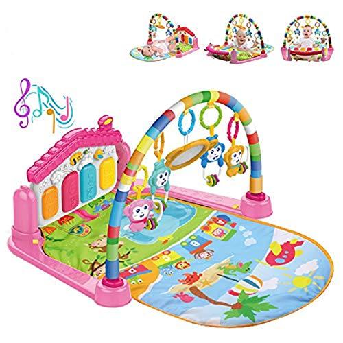 WYSWYG Alfombrilla de Juego para bebés con Luces y melodías,3 en 1 Actividad Gimnasio Juguetes para bebés Regalo para recién Nacidos Edades 0 ~ 12M, Tema Animal Multicolor (Embalaje estándar-Rosa)