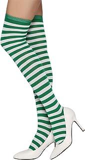 FORLADY, Calcetines a rayas sobre la rodilla unisex Calcetines largos Calcetines a rayas sobre la pierna Medias a rayas de Halloween