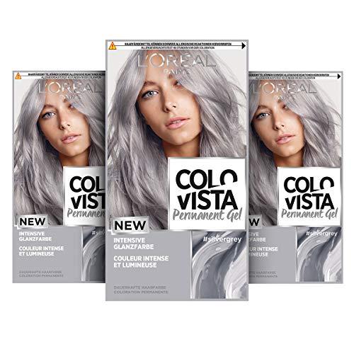 L'Oréal Paris Dauerhafte Haarfarbe, Gel-Coloration, Intensive Glanzfarbe und Farb-Pflegemaske, Colovista Permanent Gel, Silver Grey (Silber Grau), 3 Stück