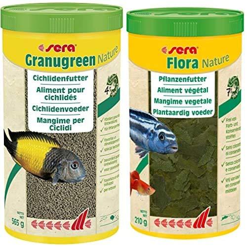 Sera Bundle Malawi Futter Set bestehend aus Granugreen 1 Ltr. (mit 4% Spirulina) & Flora 1 Ltr. (mit 7% Spirulina) pflanzliches Futter für Herbivore Cichliden z.B. Malawi & Tropheus Moorii