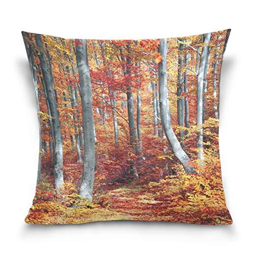 Ahomy Fundas de almohada decorativas de bosque otoñal, hojas de arce, fundas de cojín cuadradas para decoración del hogar, para sofá, coche, dormitorio, 50,8 x 50,8 cm