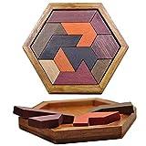Rompecabezas de madera hexagonal de Tangram para niños y adultos, 11piezas de bloque de forma hexagonal Tangram Rompecabezas Rompecabezas Lógica IQ Juego STEM Rompecabezas para niños Juguete educativo