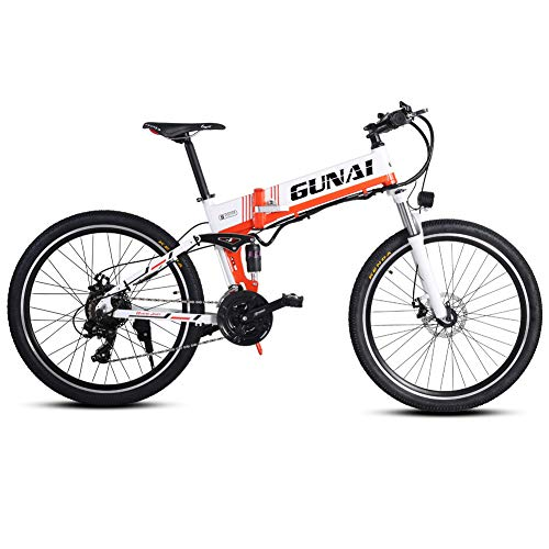 GUNAI Electric Bike,48V 500W Moutain Bike 21 Speeds 26 Inches with Removable New Energy Lithium Battery-white with Rear Seat