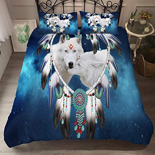 QXbecky Watercolor Inkjet Wolf Moon Under The Wolf Animal Digital Printing Bedding Pillowcase Quilt Cover 3 Piece Set