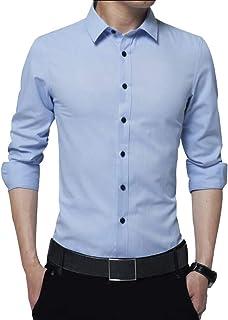Irypulse Camisa de Hombres Corte Cuello Camisa de Planchado sin Arrugas Manga Larga clásico Slim Fit Seda de algodón Elást...