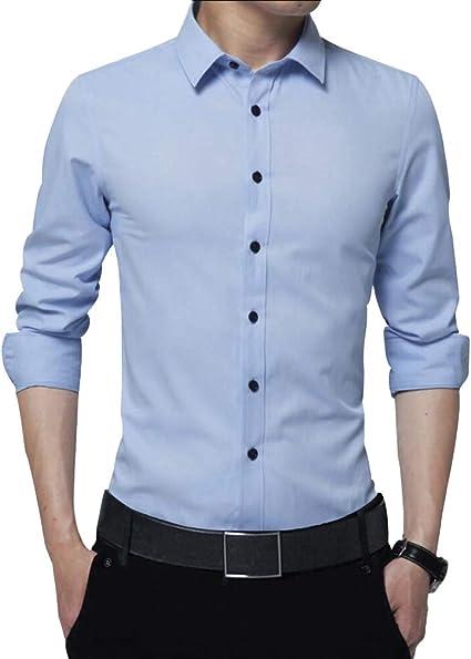 Irypulse Camisa de Hombres Corte Cuello Camisa de Planchado sin Arrugas Manga Larga clásico Slim Fit Seda de algodón Elástica Casual Formal Negocio ...
