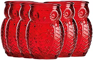 Home Essentials & Beyond 2066 Owl Shaped Shot Glasses 2.8 OZ Red Set Of 6 For Tequila Whiskey, Scoth And Vodka Or Even Mini Cocktails For Parties Dinners Or Any Special Occasions
