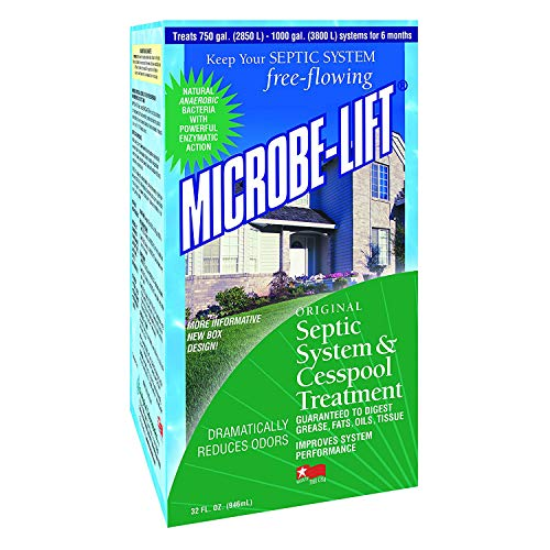 MICROBE-LIFT Natural Septic Tank Treatment - Liquid, Bio-Friendly Bacteria, Septic Safe Drain and Leach Field Cleaner - Bacteria Digest Grease, Fats, Oil and Tissue and Improve Septic Flow, 32 fl oz