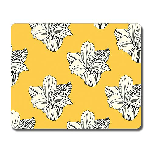 SHruizhuo Gaming Mouse Pad Custom Design,Cute Wildflower Non-Slip Rubber Base Mousepad,Small Mouse Pads for Computers(Vintage Yellow Flower)