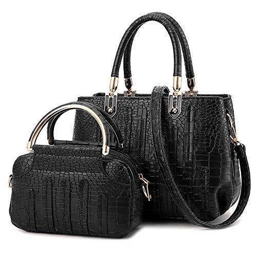 Nevenka Women Handbags Messenger Crossbody Shoulder Bag PU Leather Pocketbooks (JH778-Black)