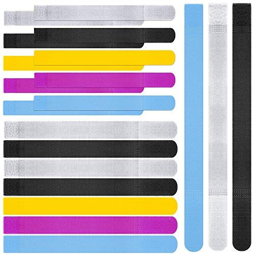 20pcs Wiederverwendbare Bunte Kabelbinder, maxin Cord Befestigung Wraps Straps, Haken & Loop, Spezielle Design Wire Organizer Management für Tablet PC TV