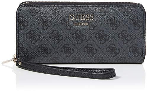 Guess Damen Salween Wallet Geldbeutel, Grau (Coal), 2x10x21 Centimeters