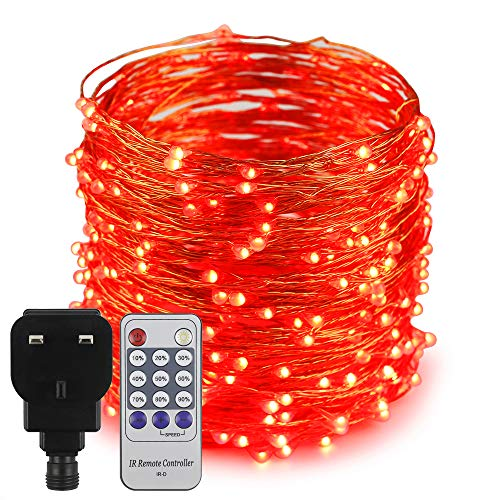 Erchen Plug in Fairy Lights, 100 FT 30M 300 LED Dimmable Copper Wire LED Starry String Lights with 12V DC Power Adapter Remote Control for Wedding Christmas Party Bedroom (Red)