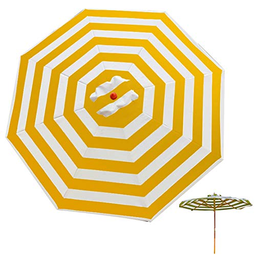 Wsaman 2.7 M/8.9 ft Sun Shade Protection Outdoor Parasol, Octagonal Umbrella Canopy with 8-Ribs Easy Assembly Waterproof UV Protective For Beach/Pool/Patio/Patio Sun Shelter Tent,Yellow white wood 1