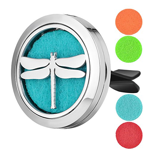 Garden Charms 30mm Stainless Steel Car Air Freshener Locket Dragonfly Perfume Essential Oil Diffuser Locket Jewelry with Free Pads GCVA-597