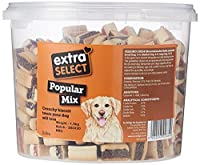 Crunchy biscuit treats your dog will love Ideal for training Perfect snack or treat Another new biscuit line to add to the extra select range Comes in handy re-usable tub