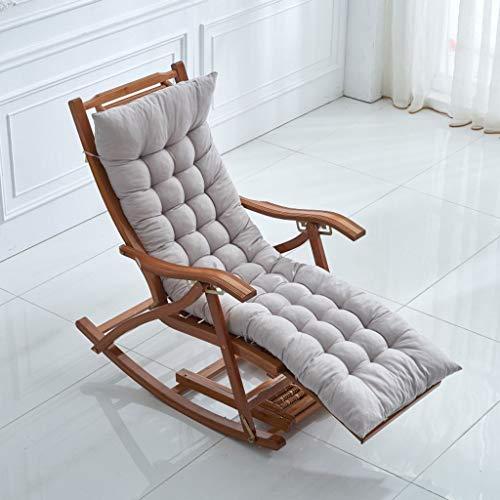 8CM dikker wasbaar ligstoel kussen, EPE FOAM verstelbare riem stoel kussen schommelstoel bamboe stoel terug kussen 48x155Cm(19x61Inch) Grijs
