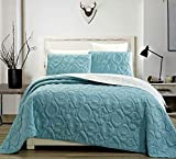 Grand Linen 3-Piece Tropical Coast Seashell Beach Queen/Full Oversize Oversize Bedspread SEA Blue/White Reversible Coverlet Embossed Bed Cover Set. Sea Shells, Sea Horse, Starfish etc.