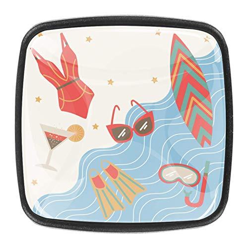 Swimming Suit Square Glass Drawer Handle Kitchen Cabinet Handle, Decorative Handle, Cabinet Drawer, Dresser Handle 4pcs