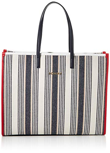 Tommy Hilfiger Damen Tommy Beach Bag Stripe Tote, Weiß (Black/White Mix), 1x1x1 cm