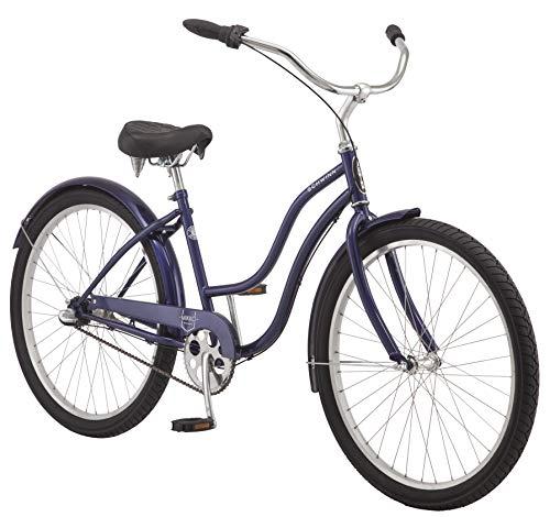 Schwinn Mikko Adult Beach Cruiser Bike, Featuring 17-Inch/Medium Steel Step-Over Frames, 3-Speed Drivetrains, Purple