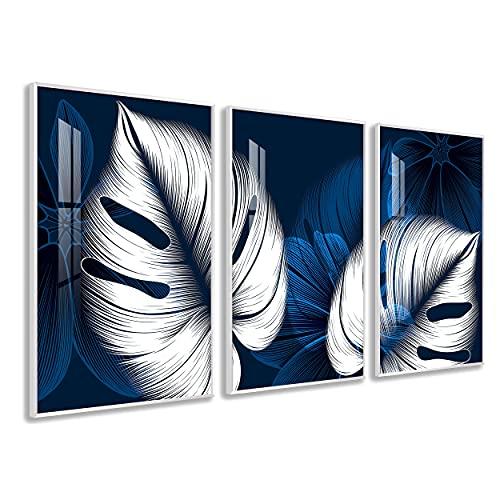 DekoArte - Quadri Decorazione | Moderno Sofisticato con Cornice in PVC | Trittici Decorativi Per Sala o Camera da letto | Poster con acrilico 0,5mm | Nature, Piante, Fiori, Nordico | 3 pezzi 150x70 cm
