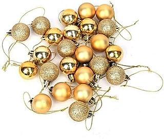 Evisha Small 24 pcs Golden Christmas X-Mass Tree Decoration Balls Hangings Ornaments