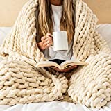 Chunky Knit Blanket by SAMIAH LUXE - 50x70 Buttercream Beige White Throw Blanket, Soft Hand Knitted Throw for Sofa or Bed; Boho Throw Blanket; Tight Braided Chenille Yarn; Thick Cable Knit Blanket