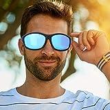 Redxiao 【𝐁𝐥𝐚𝐜𝐤 𝐅𝐫𝐢𝐝𝐚𝒚】 Gafas de Sol con protección UV, Gafas de Ciclismo Protección de los Ojos Gafas de Sol de Ciclismo de Moda, Deportes de montañismo(Black Frame Blue Film)